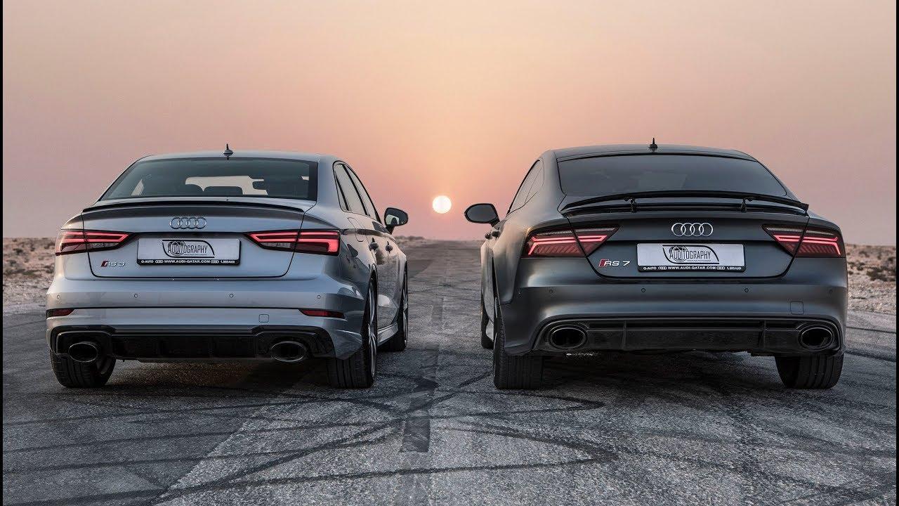 DRAGRACE: AUDI RS3 SEDAN vs AUDI RS7 PERFORMANCE - Who's the Audi RS king?