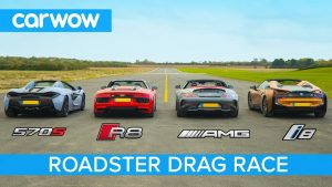 AMG GT C vs Audi R8 vs McLaren 570S vs BMW i8 – Roadsters ROOF, DRAG and ROLLING RACE!