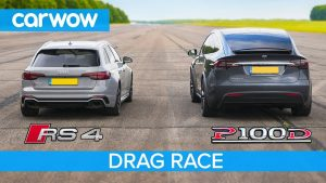 Audi RS4 vs Tesla Model X P100D – DRAG RACE, ROLLING RACE & BRAKE TEST
